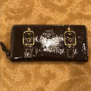 Coach brown patent leather zip wallet